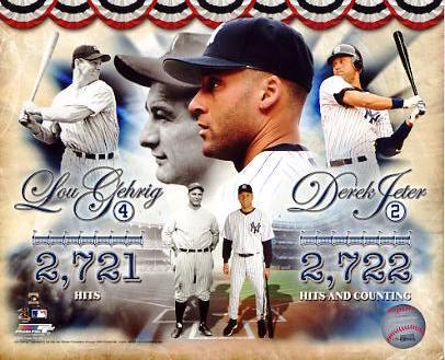 Lou Gehrig & Derek Jeter Hits Leaders New York Yankees LIMITED STOCK 8X10 Photo