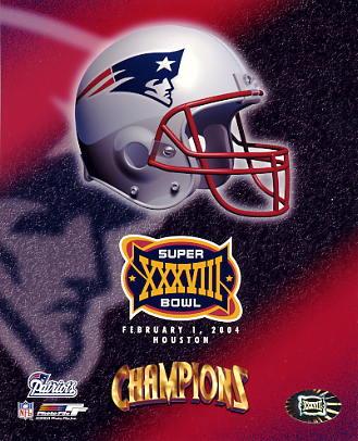 Patriots 2004 Super Bowl 38 Helmet 8x10 Photo