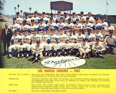 Dodgers 1967 LA Team Original Stadium Photo With Facsimile Autographs on Back 8X10 Photo