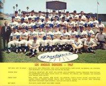 Dodgers 1967 LA Team Original Stadium Photo With Facsimile Autographs on Back 8X10 Photo