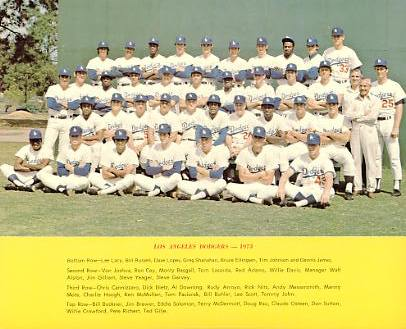 Dodgers 1973 LA Team Original Stadium Photo With Facsimile Autographs on Back 8X10 Photo