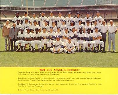 Dodgers 1974 LA Team Original Stadium Photo With Facsimile Autographs on Back 8X10 Photo