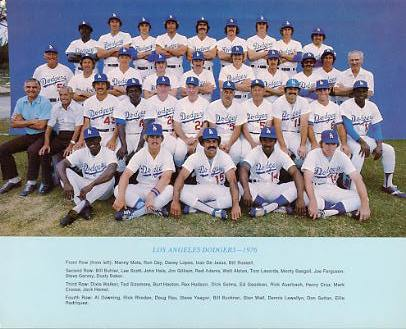 Dodgers 1976 LA Team Original Stadium Photo With Facsimile Autographs on Back 8X10 Photo