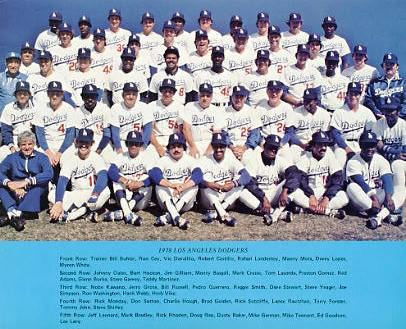 Dodgers 1978 LA Team Original Stadium Photo With Facsimile Autographs on Back 8X10 Photo
