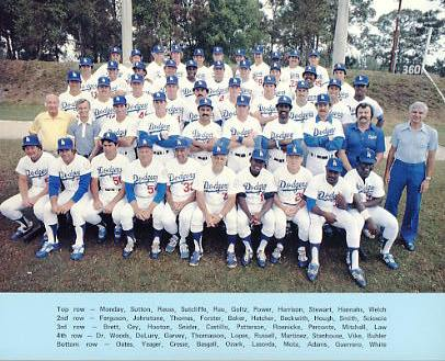 Dodgers 1979 LA Team Original Stadium Photo With Facsimile Autographs on Back 8X10 Photo