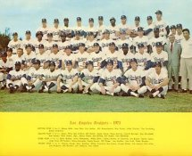 Dodgers 1971 LA Team Original Stadium Photo With Facsimile Autographs on Back 8X10 Photo