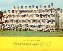 Dodgers 1971 LA Team Original Stadium Photo With Facsimile Autographs on Back 8X10 Photo