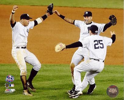 Mark Teixeira, Alex Rodriguez & Derek Jeter Celebrate 2009 ALCS Game 6 Win LIMITED STOCK New York Yankees 8X10 Photo