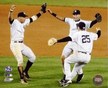 Mark Teixeira, Alex Rodriguez & Derek Jeter Celebrate 2009 ALCS Game 6 Win LIMITED STOCK New York Yankees 8X10 Photo