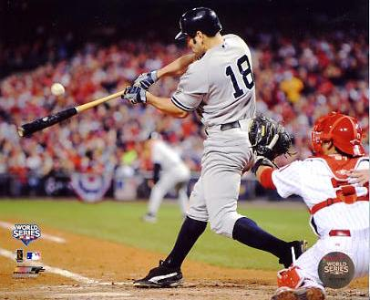 Johnny Damon 2009 World Series Game 4 RBI Single LIMITED STOCK New York Yankees 8X10 Photo