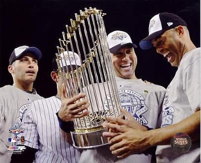 Andy Pettitte, Jorge Posada, Mariano Rivera & Derek Jeter With 2009 World Series Trophy New York Yankees 8X10 Photo LIMITED STOCK