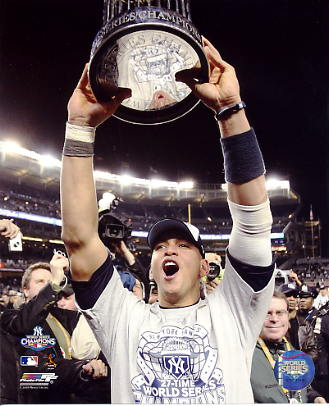 Alex Rodriguez With 2009 World Series Trophy New York Yankees 8X10 Photo