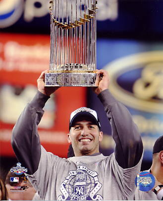 Andy Pettitte With 2009 World Series Trophy New York Yankees LIMITED STOCK 8X10 Photo