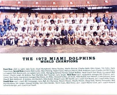 Dolphins 1972 Miami World Champions Team 8x10 Photo