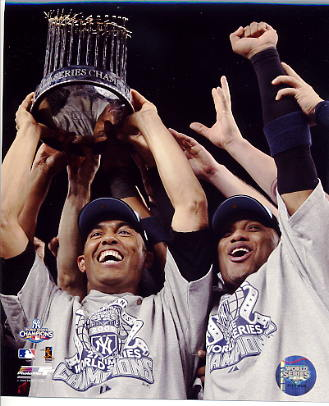 Robinson Cano & Mariano Rivera With 2009 World Series Trophy LIMITED STOCK New York Yankees 8X10 Photo