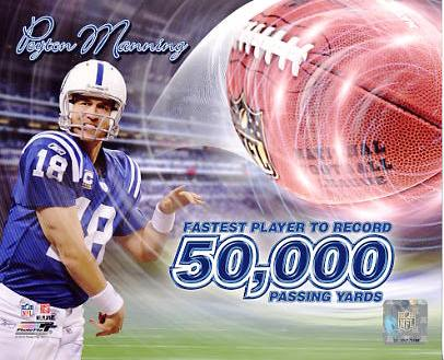 Peyton Manning 50,000 Passing Yards Indianapolis Colts 8X10 Photo