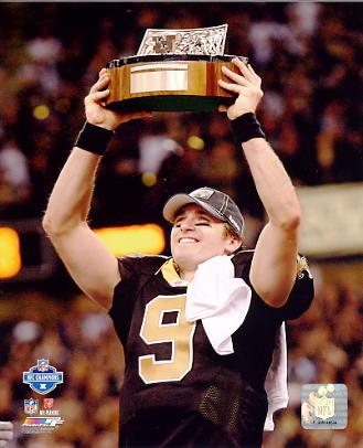 Drew Brees 2009 NFC Champions Trophy NO Saints 8X10 Photo