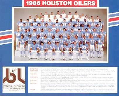 Oilers 1986 Houston Team 8x10 Photo Warren Moon, Bruce Matthews, Mike Munchak, Drew Hill, Ray Childress etc