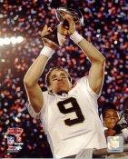 Drew Brees With Lombardi Trophy Super Bowl 44 NO Saints 8X10 Photo