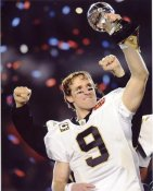 Drew Brees With Lombardi Trophy Super Bowl 44 NO Saints 8X10 Photo