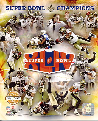 Saints 2010 Limited Numbered Edition Super Bowl 44 New Orleans 8X10 Photo -