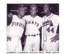 Roberto Clemente, Willie Mays & Hank Aaron Pittsburgh Pirates 8X10 Photo