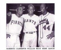 Roberto Clemente, Willie Mays & Hank Aaron Pittsburgh Pirates 8X10 Photo