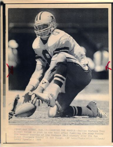 Troy Aikman Original Wire Photo Laser Paper Stock Approx. 8.5x11 Cowboys