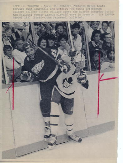 Gilbert Selorme Red Wings Original Press Photo Laser Paper Stock Includes Newsclipping w/ Caption on Back Approx. 8.5x11