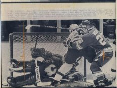 Ron Duguay Red Wings & Goalie Rejean Lemelin Flames Original Press Photo Laser Paper Stock Includes Newsclipping w/ Caption on Back Approx. 8.5x11