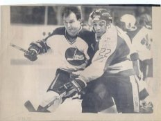 Randy Carlyle Jets Original Press Photo Laser Paper Stock Includes Newsclipping w/ Caption on Back Approx. 8.5x11
