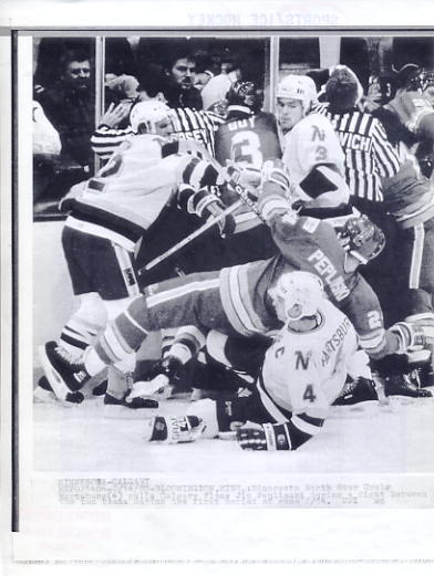 Jim Peplinski Flames Original Press Photo Laser Paper Stock Includes Newsclipping w/ Caption on Back Approx. 8.5x11