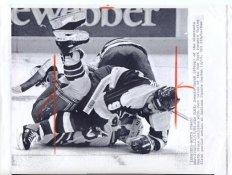 Curt Giles Rangers Original Press Photo Laser Paper Stock Includes Newsclipping w/ Caption on Back Approx. 8.5x11