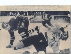 Willie Huber Rangers Original Press Photo Laser Paper Stock Includes Newsclipping w/ Caption on Back Approx. 8.5x11