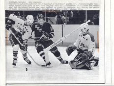Mike Allison Rangers Original Press Photo Laser Paper Stock Includes Newsclipping  w/ Caption on Back Approx. 8.5x11