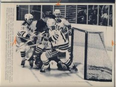 Brian MacLellan, Rob Whistle & Glen Hanlon Rangers Original Press Photo Laser Paper Stock Includes Newsclipping w/ Caption on Back Approx. 8.5x11