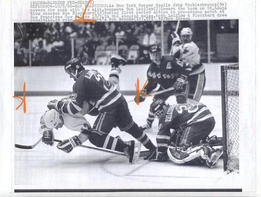 John Vanbiesbrouck & Tom Laidlaw Rangers Original Press Photo Laser Paper Stock Includes Newsclipping w/ Caption on Back Approx. 8.5x11