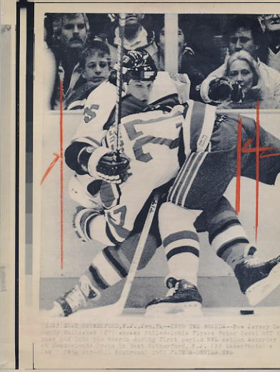 Randy Velischek Devils Original Press Photo Laser Paper Stock Includes Newsclipping w/ Caption on Back Approx. 8.5x11