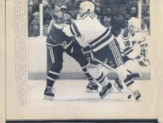 Tom Kurvers Devils Claude Lemieux Canadiens Original Press Photo Laser Paper Stock Includes Newsclipping w/ Caption on Back Approx. 8.5x11