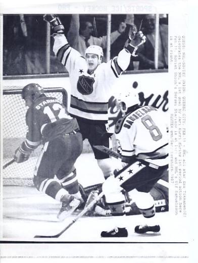 Ulf Samuelsson, Esa Tikkanen NHL Soviet Union Original Press Photo Laser Paper Stock Includes Newsclipping w/ Caption on Back Approx. 8.5x11