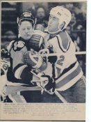 Randy Cunneyworth Penguins & Joe Cirella Devils Original Press Photo Laser Paper Stock Includes Newsclipping w/ Caption on Back Approx. 8.5x11