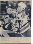 Randy Cunneyworth Penguins & Joe Cirella Devils Original Press Photo Laser Paper Stock Includes Newsclipping w/ Caption on Back Approx. 8.5x11