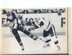 Dave McLlawin Penguins & Gilbert Delorme Red Wings Original Press Photo Laser Paper Stock Includes Newsclipping w/ Caption on Back Approx. 8.5x11