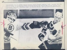 Reggie Lemelin & Allen Pedersen Bruins Original Press Photo Laser Paper Stock Includes Newsclipping w/ Caption on Back Approx. 8.5x11