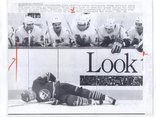 Shawn Anderson Sabres Original Press Photo Laser Paper Stock Includes Newsclipping w/ Caption on Back Approx. 8.5x11