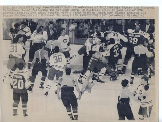 Claude Lemieux Canadiens Brawl W/ Flyers Original Press Photo Laser Paper Stock Approx. 8.5x11