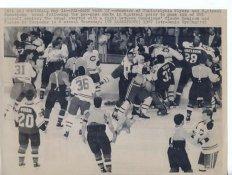 Claude Lemieux Canadiens Brawl W/ Flyers Original Press Photo Laser Paper Stock Approx. 8.5x11