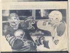 Chris Nilan Canadiens & Don McSween Sabres Original Press Photo Laser Paper Stock Includes Newsclipping w/ Caption on Back Approx. 8.5x11