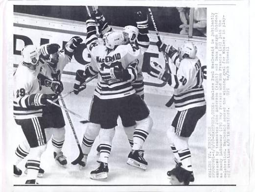 Paul MacDermid, John Anderson, Dana Murzyn & Ron Francis Whalers Original Press Photo Laser Paper Stock Includes Newsclipping w/ Caption on Back Approx. 8.5x11