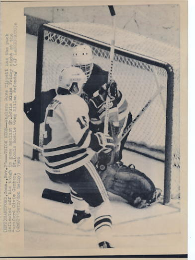 Dave Tippett Whalers Original Press Photo Laser Paper Stock Includes Newsclipping w/ Caption on Back Approx. 8.5x11